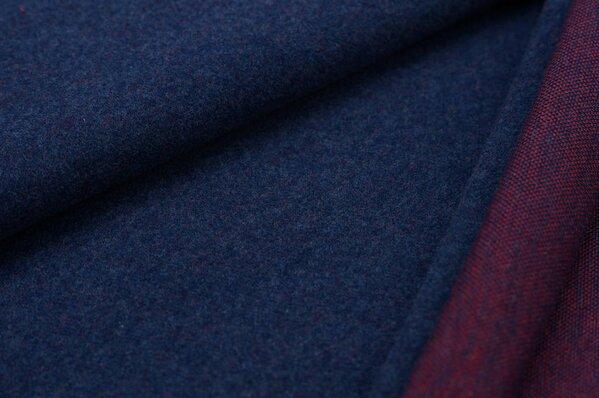 Kuschel Jacquard-Sweat Max Uni navy blau Melange mit rot