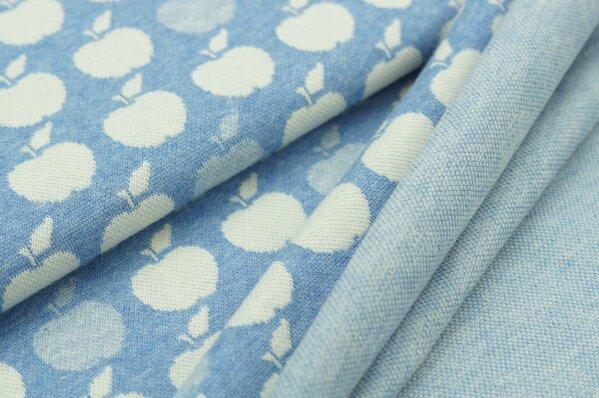 Jacquard-Sweat Mia off white Äpfel auf pastell jeansblau Melange
