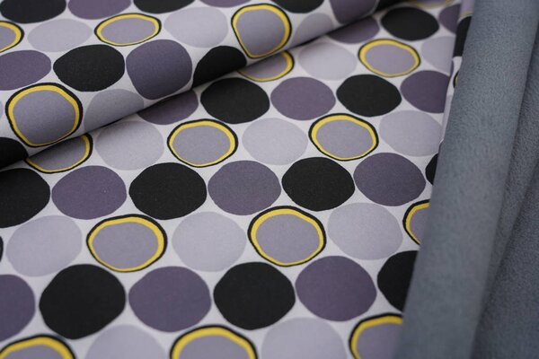 Softshell-Stoff große Punkte Kreise grau / schwarz / gelb