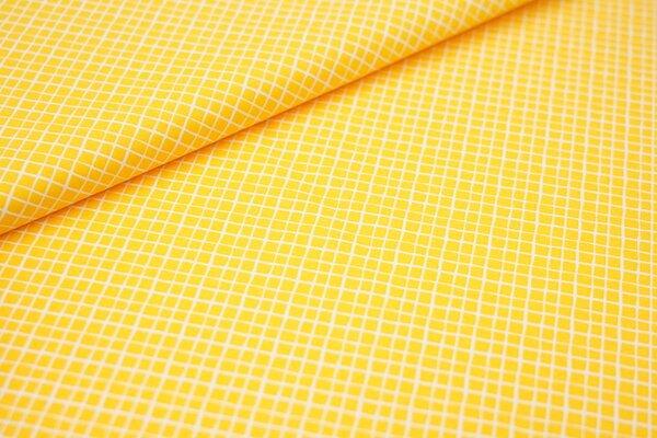 Baumwollstoff Baumwolle gelb mit kleinen weißen Rauten Karos