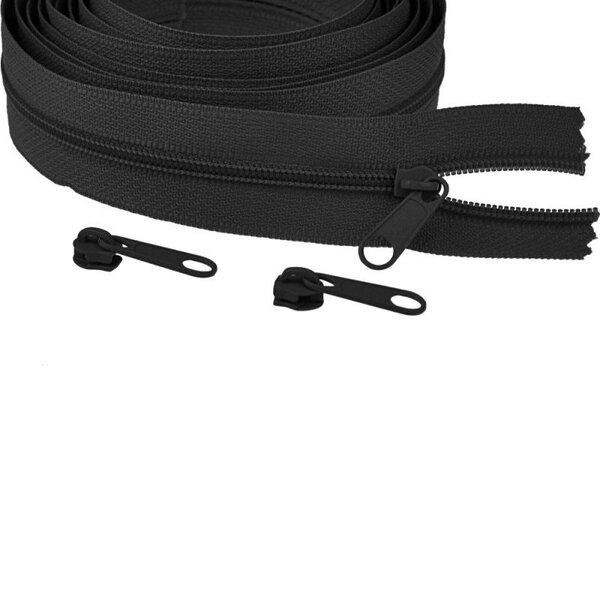 Endlos Spiral Reißverschluss uni schwarz 3 mm