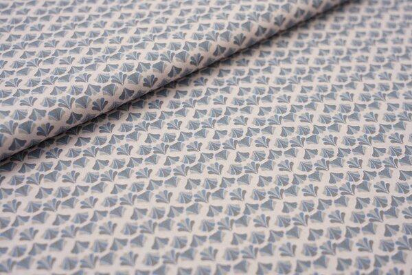 Baumwolle Retro Blumenfächer auf hellrosa / grau / blau