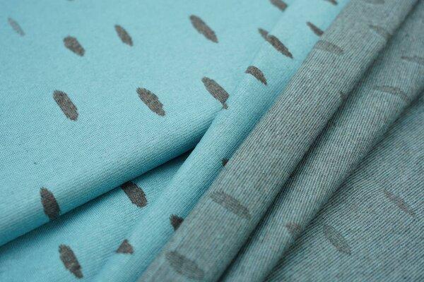 Jacquard-Jersey dunkelgraue ovale Tropfen auf eisblau