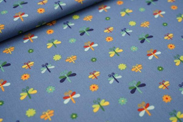 Baumwollstoff Schmetterlinge und Blumen auf taupe blau