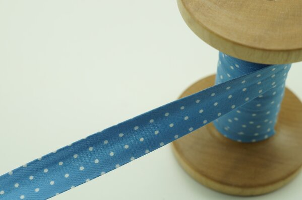 Schrägband Baumwolle 1,5 cm breit weiße Punkte auf hellblau 1 m