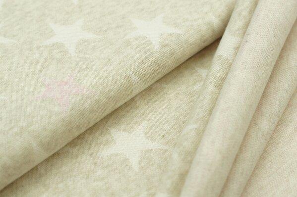 Jacquard-Sweat Mia off white und pastell rosa Sterne auf pastell beige Melange