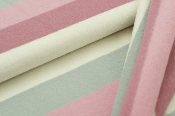 Baumwoll-Fleece Streifen dunkel altrosa / altrosa / silbergrau / off white