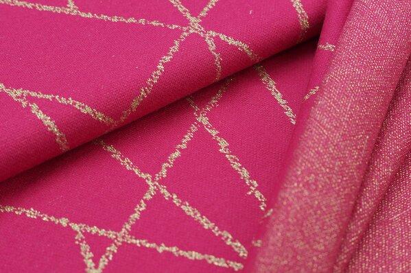 Jacquard-Sweat Ben gold Lurex Glitzer Streifen auf amarant pink