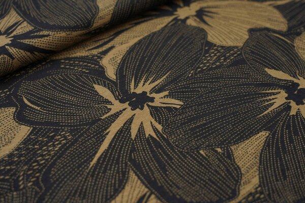 Viskose-Jersey große gestrichelte Blumen schwarz / schlammbraun