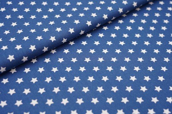Baumwollstoff Baumwolle kleine Sterne jeansblau / weiß