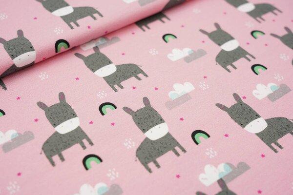 Baumwoll-Jersey Esel Regenbögen Wolken Sterne auf rosa Regenbogen