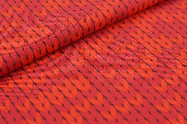 Baumwoll-Jersey-Stoff mit Zopfmuster rot / hellrot / rotbraun
