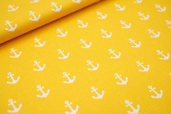 Baumwolle maritim weiße Anker auf gelb