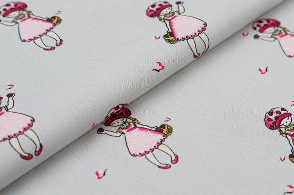 Baumwollstoff Erdbeer Mädchen mit Korb / Schmetterlinge grau / pink Baumwolle