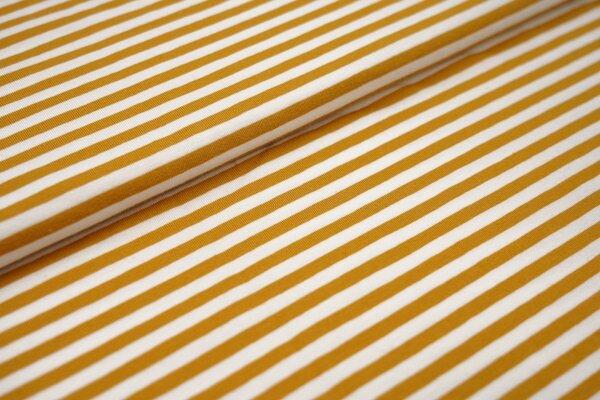 Baumwoll-Jersey Streifen Ringel weiss / senf