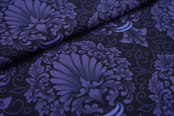 Baumwoll-Jersey Blumen Ornamente dunkelblau / taupe blau