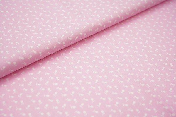 Baumwollstoff Baumwolle rosa mit kleinen weißen Blumen