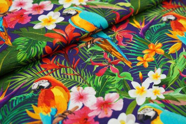 Baumwoll-Jersey Papagei im Dschungel mit bunten Blumen auf dunkelblau