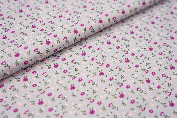 Baumwollstoff mit kleinen Blumen silbergrau / violett / rosa / weiß / grün