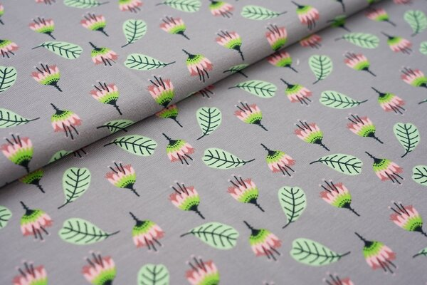 Baumwoll-Jersey Blumen und Blätter auf mittelgrau