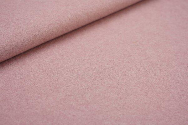 Kuscheliger dicker uni Baumwoll-Fleece Stoff altrosa melange