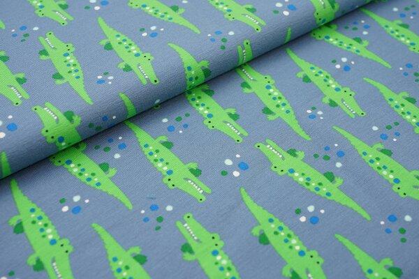 Baumwoll-Jersey grüne Krokodile und farbige Punkte auf jeansblau