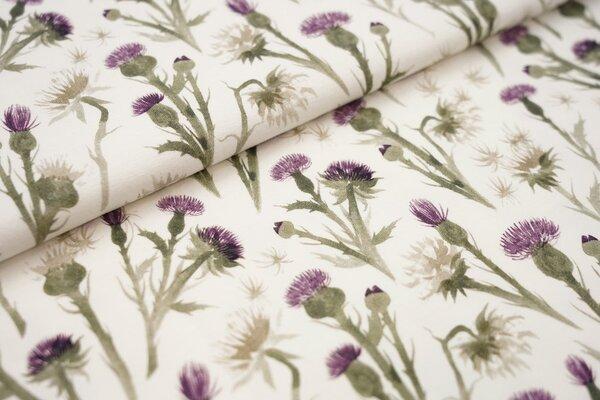 Digitaldruck Baumwoll-Jersey Aquarell Blumen Distel cremeweiß / Lila und grün