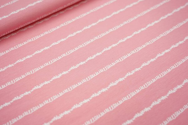 Baumwoll-Jersey gekritzelte Linien Streifen pastell rosa / weiß