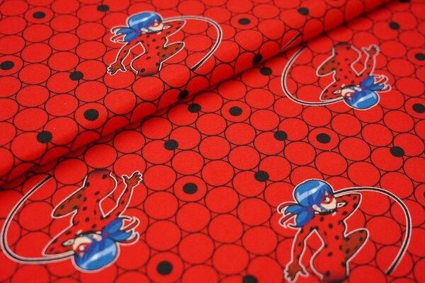 Baumwoll-Jersey Miraculous Ladybug Marinette auf Kreisen auf rot