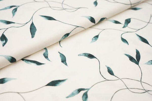 Digitaldruck Baumwoll-Jersey Aquarell mit Blätterranken in dunkelmint grün auf off white creme