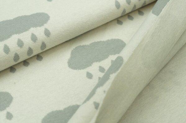 Jacquard-Sweat Ben hellgraue Wolken mit Tropfen auf off white