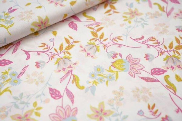 Baumwollstoff mit Blumen auf weiß mit pink / rosa / hellblau / oliv