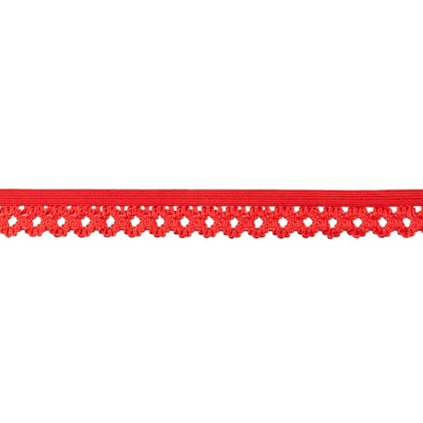 Elastisches Zierband Gummiband mit Rüschen Blumen Spitze uni rot 20 mm