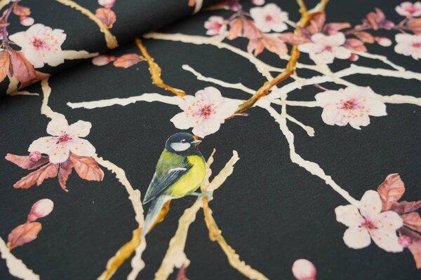 Baumwoll-Jersey Digitaldruck Vogel Blaumeise Kirschblütenzweige auf schwarz