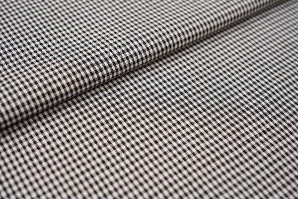 Baumwollstoff Baumwolle vichykaro Karomuster sehr klein kariert weiß / schwarz
