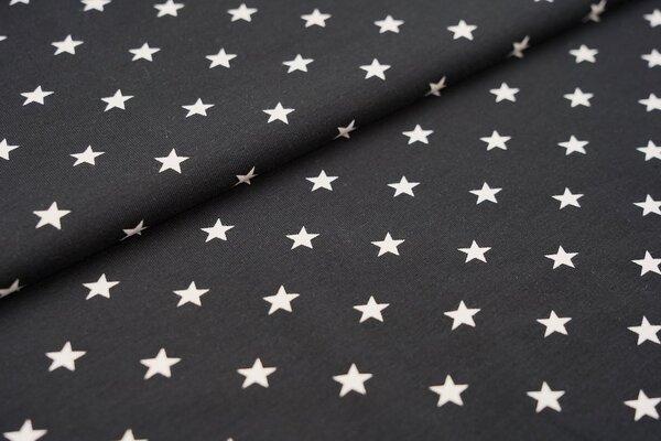 Baumwoll-Jersey weisse Sterne auf schwarz