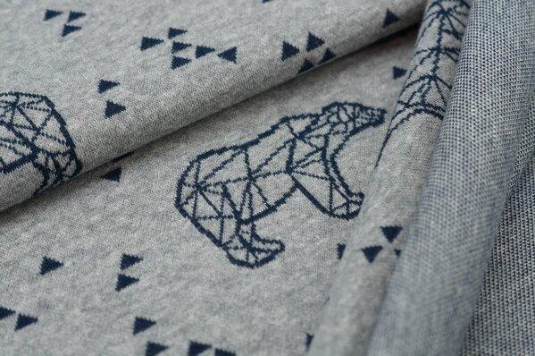 Jacquard-Sweat Mia navy blaue Eisbären und Dreiecke auf grau melange