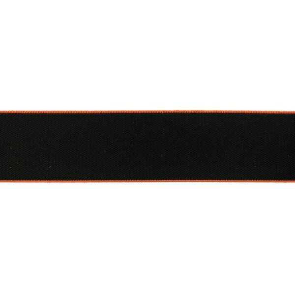 Breites Gummiband uni schwarz mit rostorangem Rand 40 mm