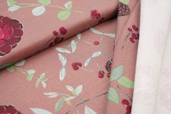 Modal-Sweat Swafing Yva by Bienvenido Colorido Blumen Beeren Kienäpfel auf dunkel perlrosa