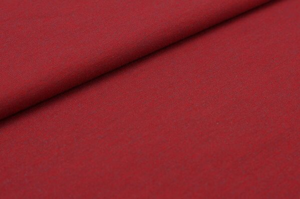 Baumwoll-Jersey uni rot mit grau meliert