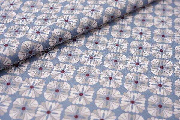 Baumwolle Retro Blumen Muster jeansblau / grau / hellrosa