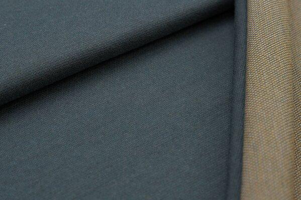 Jacquard-Sweat Ben dunkelgrau Uni mit dunkelgrauer und senf Rückseite
