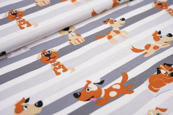 Baumwoll-Jerseystoff Hunde auf Streifen grau / dunkelgrau / weiß / braun
