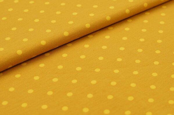 Baumwoll-Jersey große senfgelbe Punkte auf rostsenf