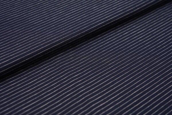 Baumwoll-Jersey zarte weisse gepunktete streifen auf navy dunkelblau