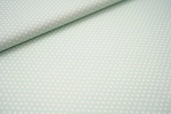 Baumwollstoff Baumwolle pistazie mint mit kleinen weißen Sternen