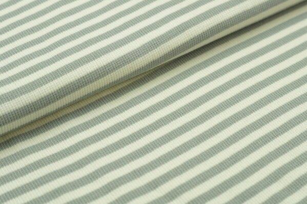 Ringelbündchen Marie hellgrau / off white Streifen