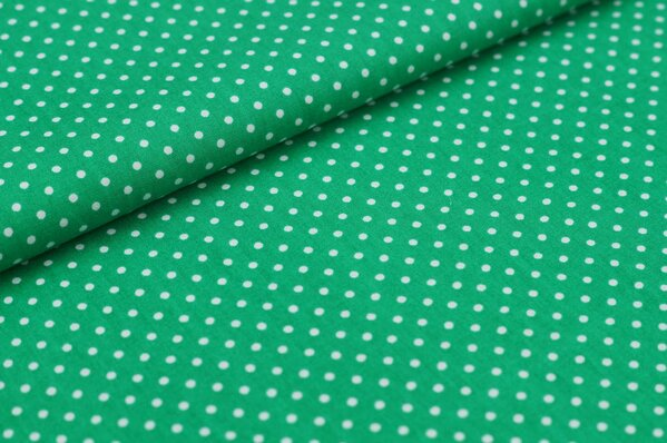Baumwollstoff Baumwolle kleine Punkte dunkelgrün / weiß