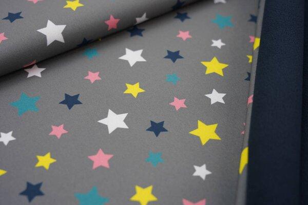 Softshell-Stoff bunte Sterne auf grau / dunkelblaue Innenseite