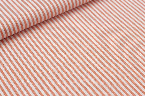 Baumwollstoff Baumwolle Streifen orange / weiß meliert